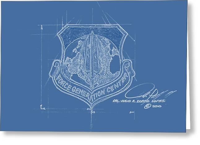 Reserve Drawings Greeting Cards - F G C Blue Greeting Card by Julio R Lopez Jr