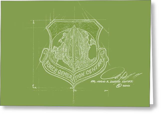Reserve Drawings Greeting Cards - F G C Green Greeting Card by Julio R Lopez Jr