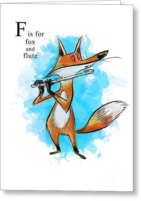 Sean Hagan Greeting Cards - F is for Fox Greeting Card by Sean Hagan