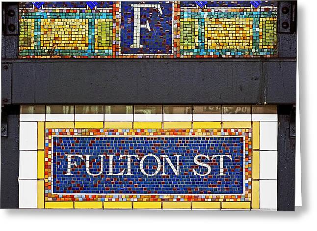 Blue Art Greeting Cards - F is for Fulton Street Greeting Card by Rona Black