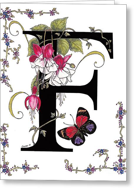 Personal Mixed Media Greeting Cards - F is for Fuschias and a Figure Eight Butterfly Greeting Card by Stanza Widen