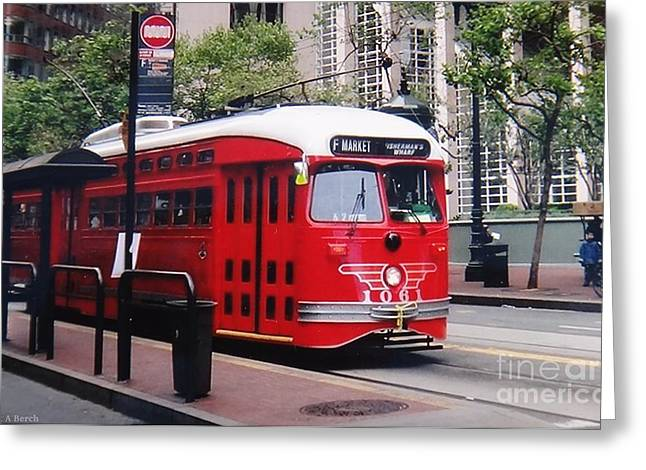San Francisco Cali Greeting Cards - F Line 1061 Greeting Card by Janet Berch
