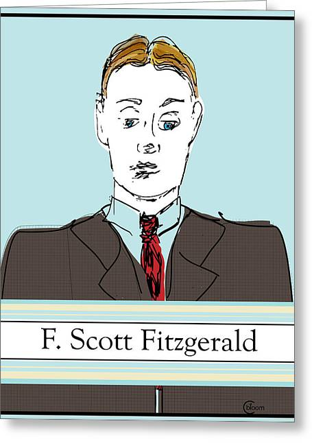 Francis Drawings Greeting Cards - F Scott Fitzgerald Portrait Drawing in 60s Greeting Card by Cecely Bloom