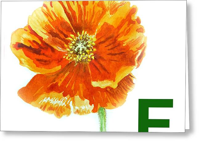 Children Decor Greeting Cards - F Stands for Flower Art Alphabet for Kids Room Greeting Card by Irina Sztukowski