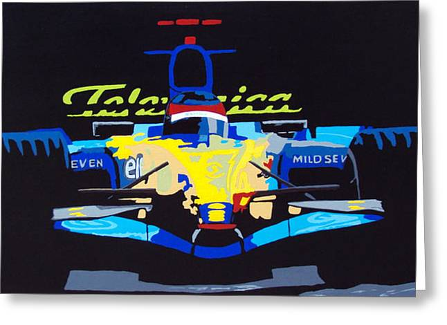 Indy Car Greeting Cards - F1 Greeting Card by Bryan Dubreuiel