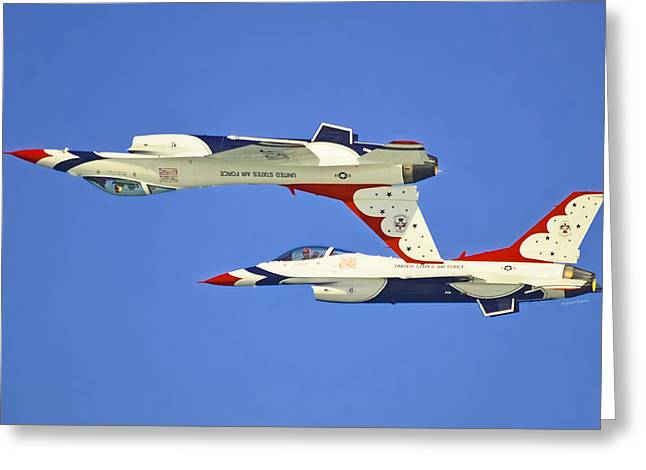 Inversion Greeting Cards - F16 Precision Greeting Card by DigiArt Diaries by Vicky B Fuller