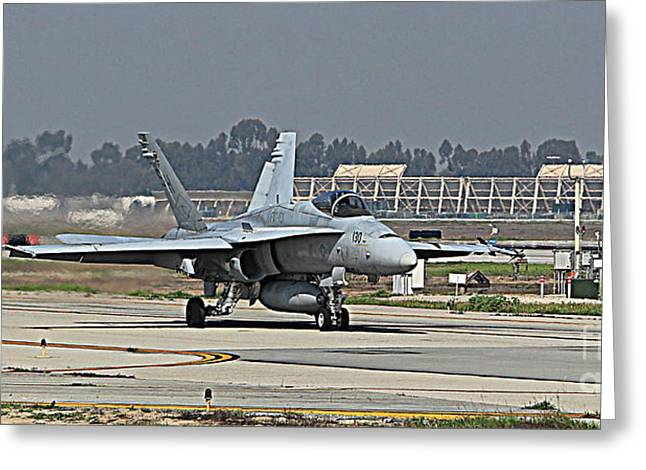 Airport Pyrography Greeting Cards - FA-18 Hornet Greeting Card by Jason  Sewell