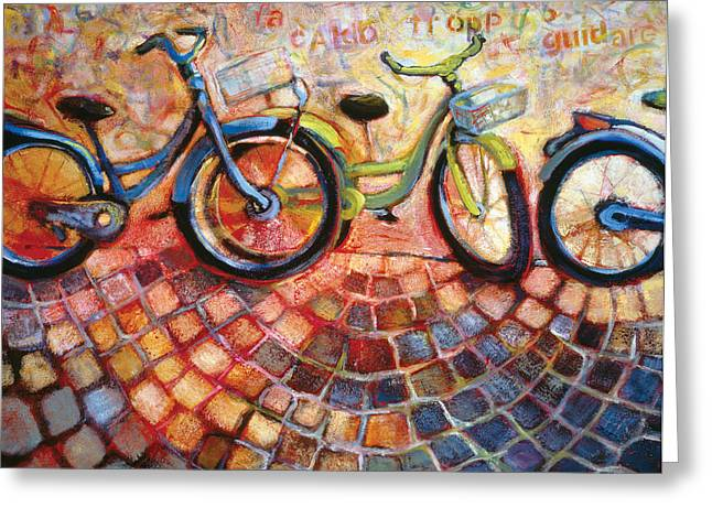Blue Bike Greeting Cards - Fa Caldo Troppo Guidare Greeting Card by Jen Norton