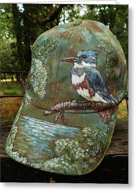 Hat Tapestries - Textiles Greeting Cards - FA Kingfisher Cap Greeting Card by VLee Watson