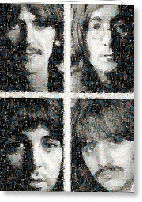 Sgt Peppers Digital Art Greeting Cards - Fab Four Mosaic Image 1 Greeting Card by Steve Kearns