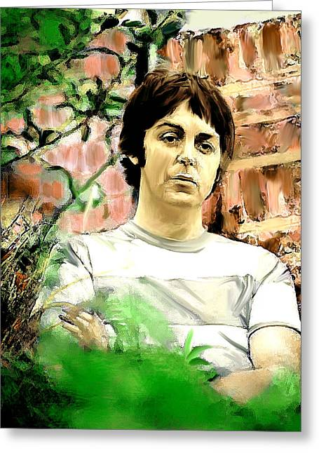 George Harrison David Pucciarelli Greeting Cards - Fab  Paul McCartney  Greeting Card by Iconic Images Art Gallery David Pucciarelli