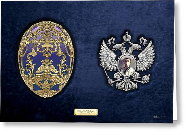 Treasure Trove Greeting Cards - Faberge Tsarevich Egg with Surprise on Blue Velvet Greeting Card by Serge Averbukh