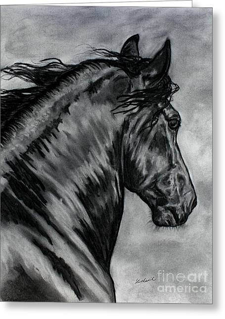 Barrel Pastels Greeting Cards - Fabiano - Friesian horse Greeting Card by Lucka SR