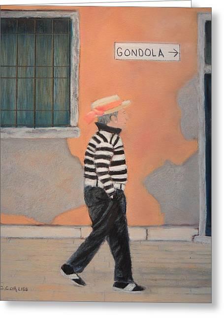 Gondolier Pastels Greeting Cards - Fabio Greeting Card by Carol Corliss