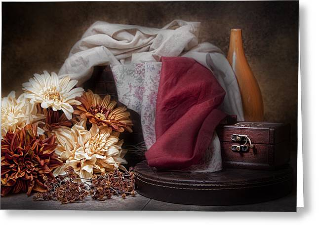 Material Life Greeting Cards - Fabric and Flowers Still Life Greeting Card by Tom Mc Nemar
