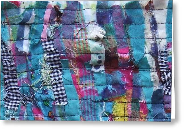 Thread Tapestries - Textiles Greeting Cards - Fabric Art Two Greeting Card by Janice Martin