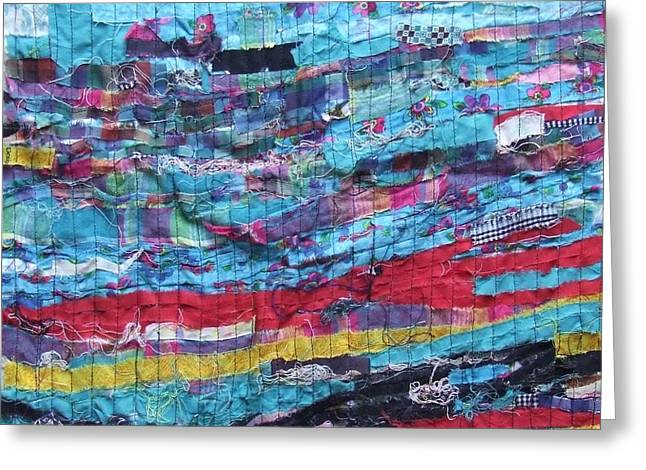 Thread Tapestries - Textiles Greeting Cards - Fabric Art Three Greeting Card by Janice Martin