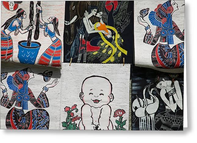 Yunnan China Greeting Cards - Fabric Items For Sale, Dali, Yunnan Greeting Card by Panoramic Images