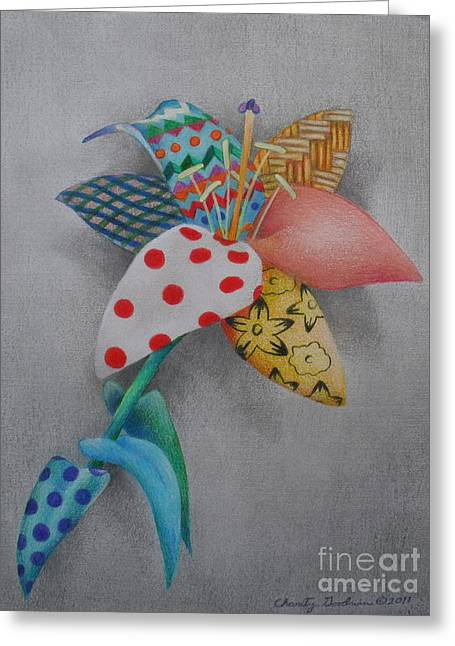 Cooperation Drawings Greeting Cards - Fabric Lily Greeting Card by Charity Goodwin