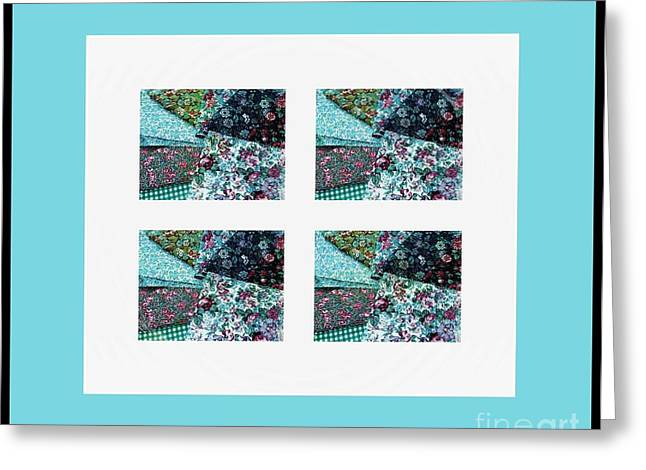 Crazy Quilt Greeting Cards - Fabric Swatches Turquoise Border Greeting Card by Barbara Griffin