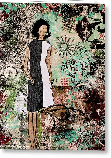 Janelle Nichol Greeting Cards - Fabulous a retro inspired abstract mixed media artwork Greeting Card by Janelle Nichol