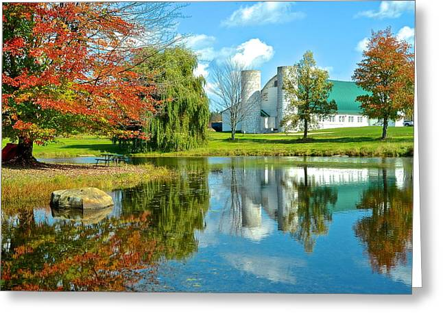 Reflections Of Sky In Water Greeting Cards - Fabulous Fall Farm Greeting Card by Frozen in Time Fine Art Photography