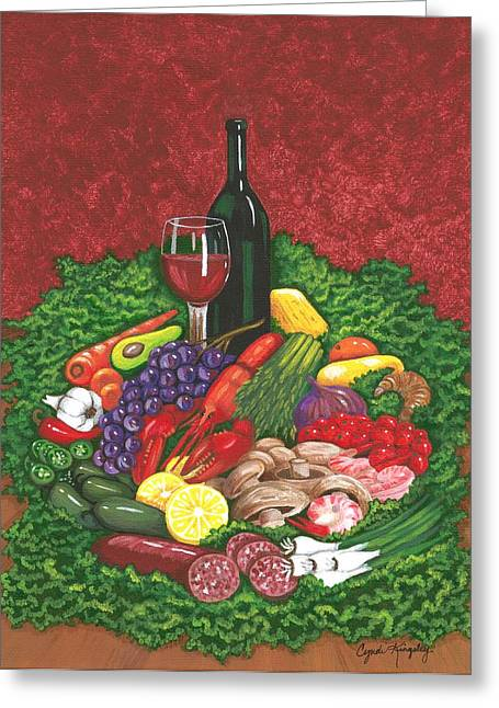 Cyndi Kingsley Greeting Cards - Fabulous Feast Greeting Card by Cyndi Kingsley