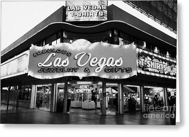 fabulous las vegas jewelry and gifts freemont street Nevada USA Greeting Card by Joe Fox