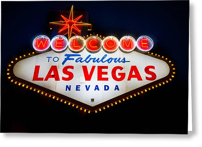 Signed Photographs Greeting Cards - Fabulous Las Vegas Sign Greeting Card by Steve Gadomski