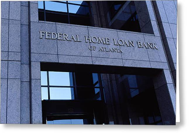 Western Script Greeting Cards - Facade Of A Bank Building, Federal Home Greeting Card by Panoramic Images