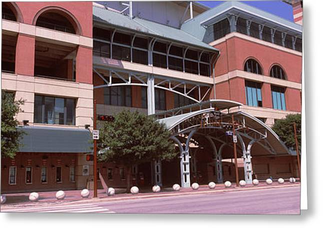 Baseball Parks Photographs Greeting Cards - Facade Of A Baseball Stadium, Minute Greeting Card by Panoramic Images