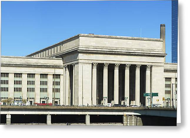 Schuylkill Greeting Cards - Facade Of A Building At A Railroad Greeting Card by Panoramic Images