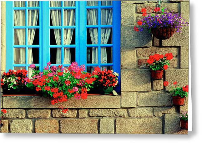 Chateau Greeting Cards - Facade Of A Building, Locronan, France Greeting Card by Panoramic Images