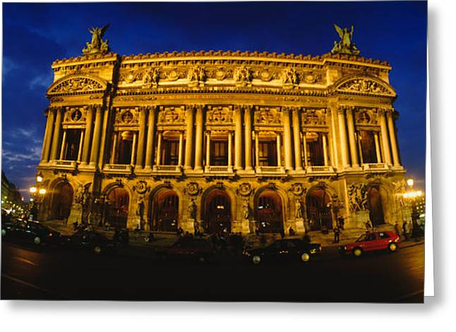 Neo Greeting Cards - Facade Of A Building, Opera House Greeting Card by Panoramic Images