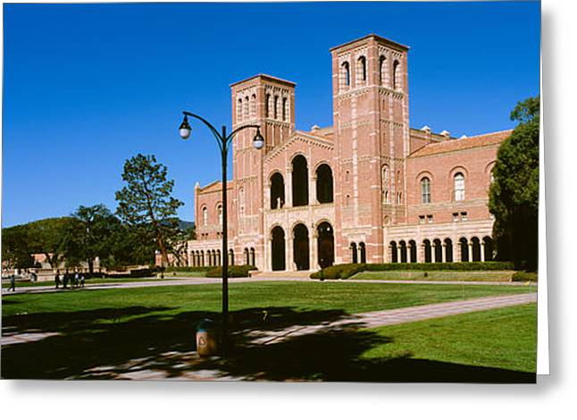 Facades Greeting Cards - Facade Of A Building, Royce Hall, City Greeting Card by Panoramic Images