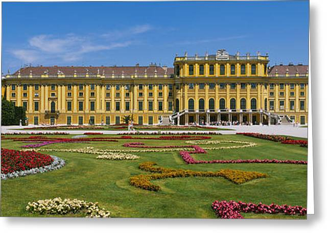 Garden Scene Photographs Greeting Cards - Facade Of A Building, Schonbrunn Greeting Card by Panoramic Images
