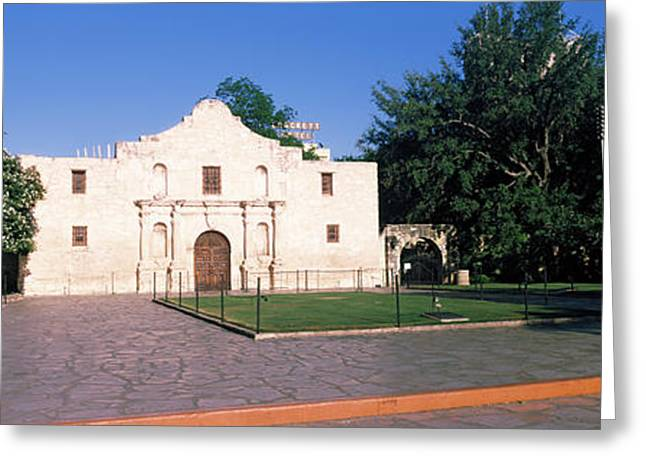 Facades Greeting Cards - Facade Of A Building, The Alamo, San Greeting Card by Panoramic Images