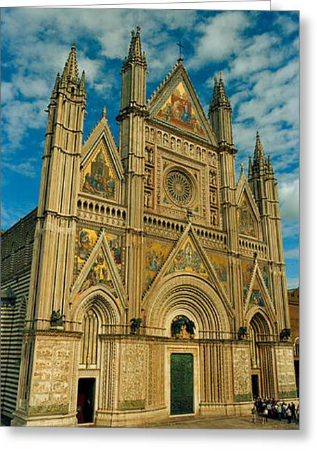 Medium Group Of People Greeting Cards - Facade Of A Cathedral, Duomo Di Greeting Card by Panoramic Images