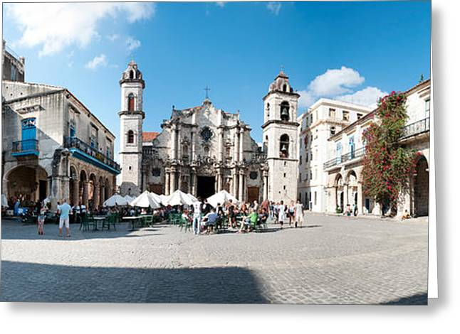 Town Square Greeting Cards - Facade Of A Cathedral, Plaza De La Greeting Card by Panoramic Images