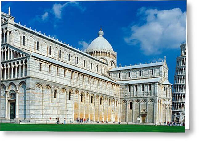 Pisa Greeting Cards - Facade Of A Cathedral With A Tower Greeting Card by Panoramic Images