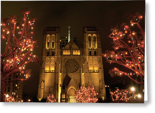 Illuminate Greeting Cards - Facade Of A Church, Grace Cathedral Greeting Card by Panoramic Images
