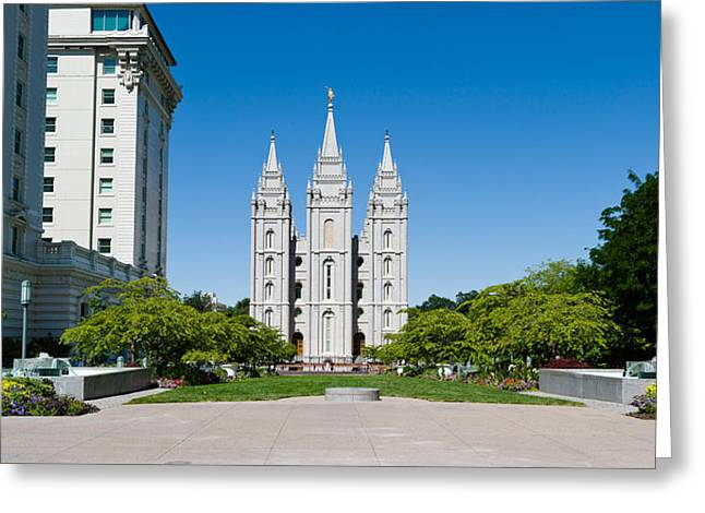 Salt Lake Temple Greeting Cards - Facade Of A Church, Mormon Temple Greeting Card by Panoramic Images