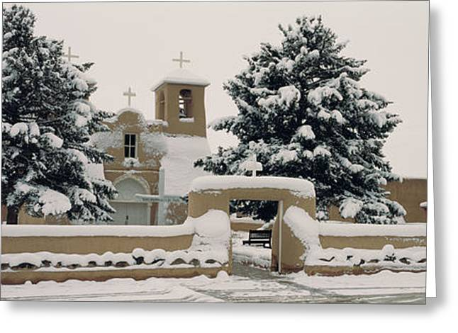 Taos Photographs Greeting Cards - Facade Of A Church, San Francisco De Greeting Card by Panoramic Images