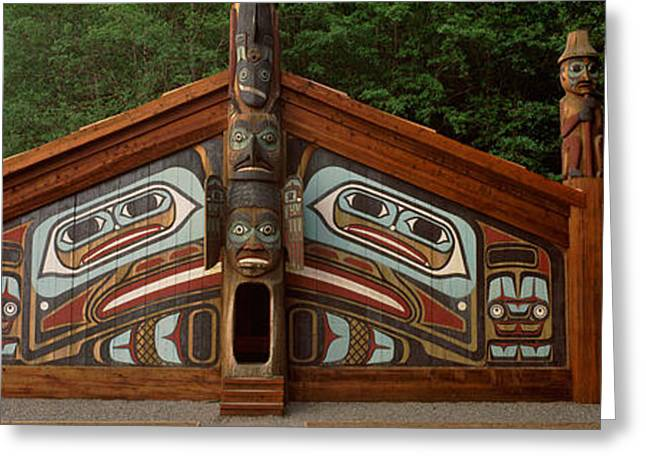 Facade Of A Clan House, Totem Bight Greeting Card by Panoramic Images