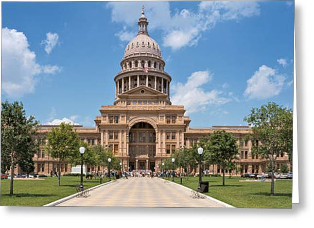 Austin Landmarks Greeting Cards - Facade Of A Government Building, Texas Greeting Card by Panoramic Images