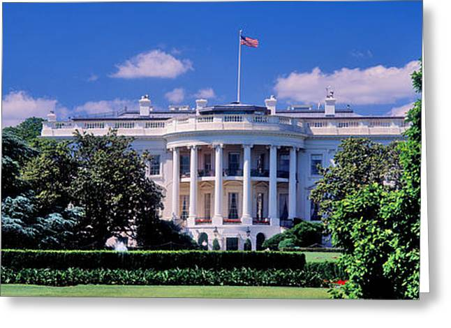 Neo Greeting Cards - Facade Of A Government Building, White Greeting Card by Panoramic Images