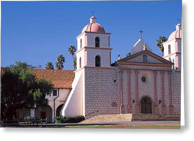 Santa Barbara Greeting Cards - Facade Of A Mission, Mission Santa Greeting Card by Panoramic Images