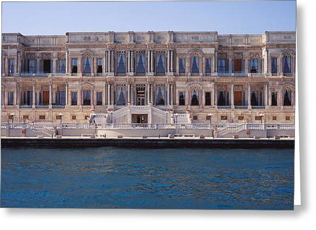Bosphorus Greeting Cards - Facade Of A Palace At The Waterfront Greeting Card by Panoramic Images