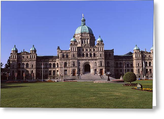 British Columbia Greeting Cards - Facade Of A Parliament Building Greeting Card by Panoramic Images