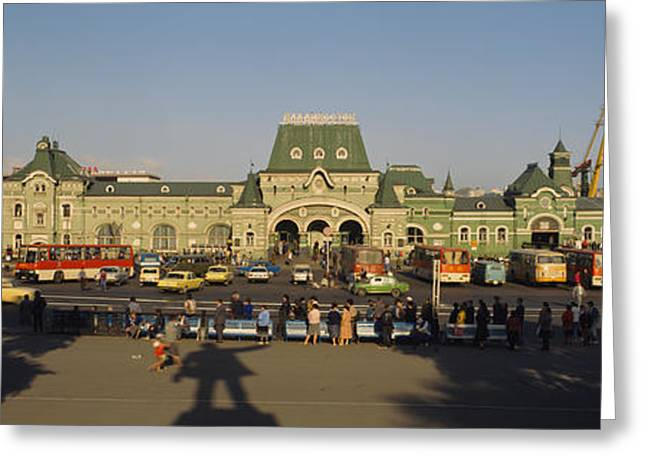 Commonwealth Of Independent States Greeting Cards - Facade Of A Railroad Station Greeting Card by Panoramic Images